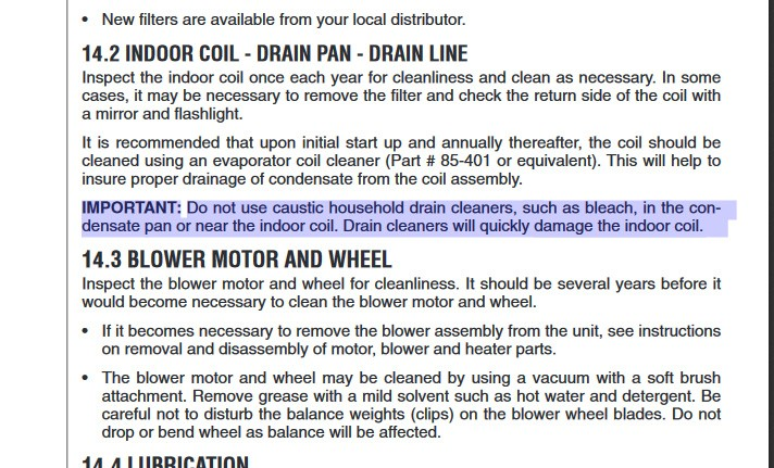 Rheem installation manual, don't use bleach to clean condensate drain line
